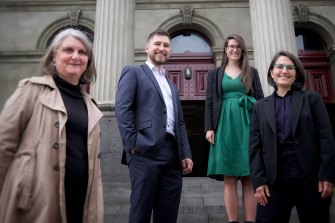 Greens councillors (from left) Amanda Stone, Edward Crossland, Sophie Wade and Gabrielle de Vietri outside Fitzroy Town Hall last year.