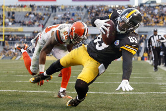 Pittsburgh Steelers wide receiver Cobi Hamilton making a touchdown against the Cleveland Browns during a 2017 NFL game. TAB says its investment in AI means it can take bets on more elements of each game in the popular league, including how individual players perform.