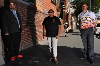 Community leaders Warren Roberts, LaVerne Bellear and Nathan Moran in Redfern.