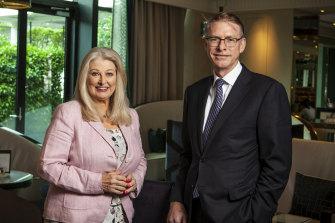 Crown Resorts former chairman Helen Coonan (left) with Crown's then-boss Ken Barton. Mr Barton was paid $6.7 million in 2021, including a $3.3 million golden handshake.