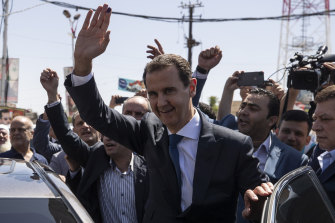 Syrian President Bashar al-Assad after voting in Douma, the site of his regime's chemical attack and air strikes on the population in 2018.