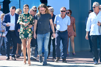 WA Premier Mark McGowan, actor Kate Walsh, entertainer Tim Minchin, Howard Cearns, and Adrian Fini in Fremantle for the announcement of an $100 million film studio at Victoria Quay.
