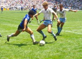 Maradona takes on England's Terry Butcher and Kenny Sansom in the 1986 FIFA World Cup quarter final.
