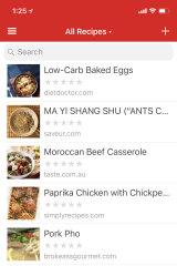 Picking a recipe in Paprika App.