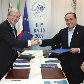 Rudd with Silvio Berlusconi … the Italian leader once offered to lend the then PM a yacht.