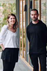 Jack Dorsey with Code Like a Girl co-founder Ally Watson, in Melbourne this week.