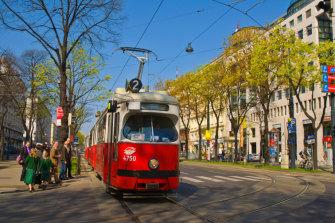 A tram in central Vienna.
