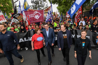 ETU leader Troy Grey (left) and ACTU secretary Sally McManus (right) with Premier Daniel Andrews (middle) at a union rally in Melbourne in January.