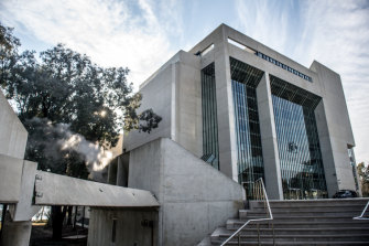 The brutalist facade of the High Court building in Canberra, opened in 1980.