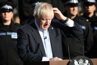 Boris Johnson spoke in front of ranks of new police officers in Yorkshire.