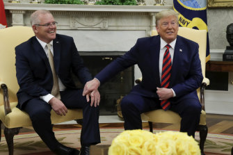 Prime Minister Scott Morrison and US President Donald Trump during their meeting in the Oval Office on September 20.