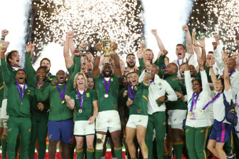 The Springboks celebrate.