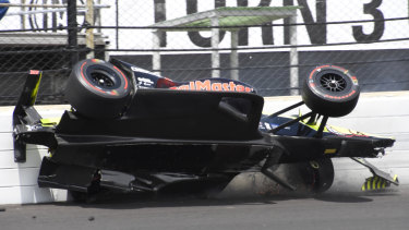 Sebastian Bourdais ploughs into the wall during the Indy 500.