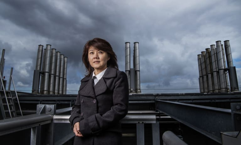 Professor Rose Amal on the rooftop of the Tyree building at the University of NSW. She is using sunlight to turn carbon dioxide into environmentally friendly fuels.