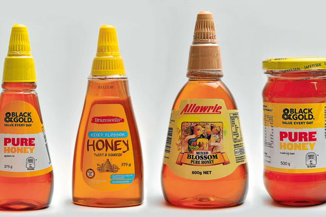 The tested honey products.