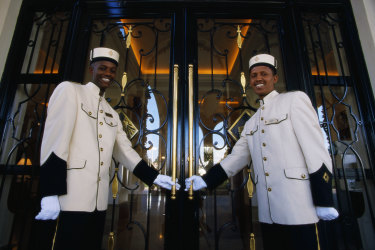 Doormen at a hotel in Addis Ababa, Ethiopia. One reader compares service in rural NSW and Queensland unfavorably with Ethiopia and Uganda.