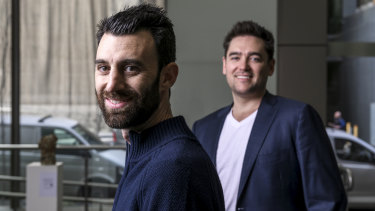 Wayne Baskin, left, and John Winters are launching an app allowing Australians to buy shares with a $5 commission.
