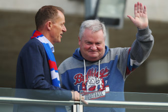 Peter Gordon, right, stepped down from his role as Bulldogs president earlier this week.