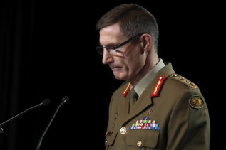 ADF Chief Angus Campbell releasing the Brereton Inquiry report, which found Australian soldiers were involved in close to 60 alleged war crimes, including murders.