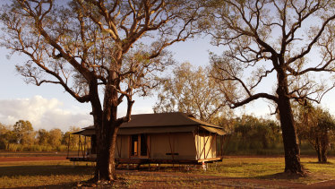 "Wildman Wilderness Lodge is an unforgettable experience, its safari tents perched on timber platforms, with thick dun-coloured canvas ""walls""."