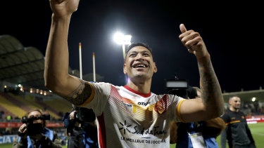 Israel Folau in his new life with Catalans Dragons.