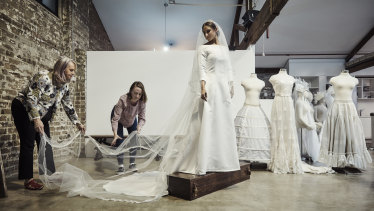 Elizabeth Alexandrou, (left) and Tessa Rankin took on the challenge to replicate Meghan's wedding dress.