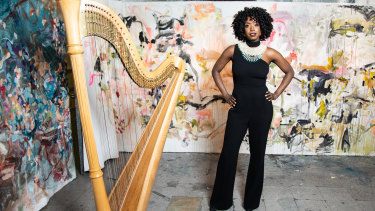 Brandee Younger has the harp dancing in and out of the fiercer instruments of jazz.