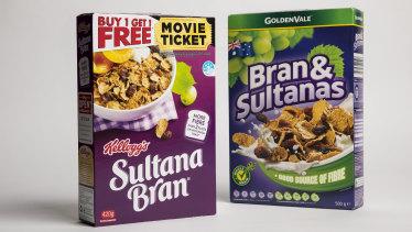 Sultana Bran and Aldi's Bran and Sultana.