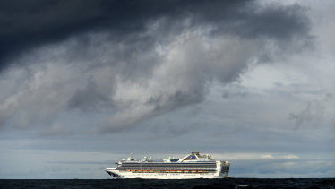 Carrying multiple people who have tested positive for COVID-19, the Grand Princess off the coast of San Francisco.