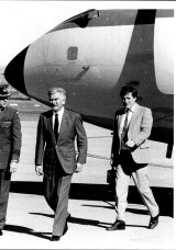 Prime Minister Bob Hawke flew back to Canberra for a crisis cabinet with adviser Bob Sorby on May 19, 1987.
