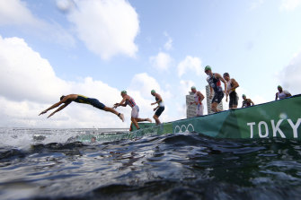 Half of the field were left on the pontoon at the first start of the swim leg of the men's individual triathlon at the 2020 Summer Olympics on Monday.