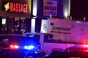 One of the massage parlours where a gunman killed several Korean women in Atlanta.
