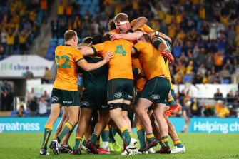 The Wallabies celebrate their finest performance of the Dave Rennie era.