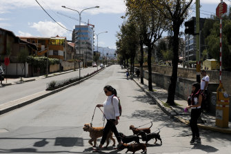There were few signs of life on the streets of La Paz on Sunday.
