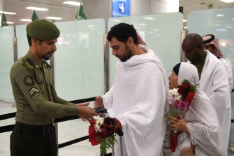 Families of victims of the Christchurch massacre arrive at Jeddah airport near Mecca on August 2.