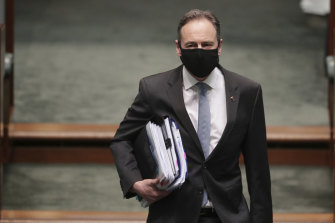 Greg Hunt at Parliament House in Canberra last month. The health minister has found his groove during the coronavirus pandemic.