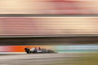 Mercedes driver Lewis Hamilton en route to victory.