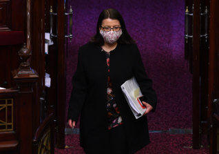 Jenny Mikakos arriving at Parliament earlier this month.