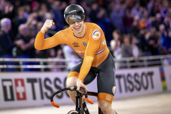 Jeffrey Hoogland celebrates after the Netherlands won the final of the men's team sprint.