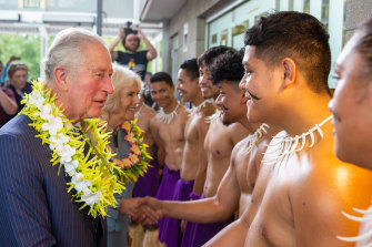 Prince Charles and Camilla, Duchess of Cornwall in Auckland on Monday.