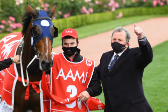 Trainer Denis Pagan with Johnny Get Angry.