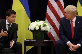President Donald Trump meets with Ukrainian President Volodymyr Zelensky in New York.