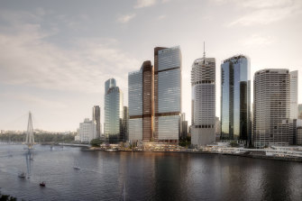 Under the proposed redevelopment, the 30-year-old Eagle Street Pier buildings would be demolished and replaced with two 49- and 43-floor office towers on prime riverside land.
