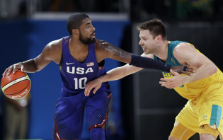 Brooklyn Nets star Kyrie Irving (left) was a gold medallist for the US at the 2016 Rio Games.