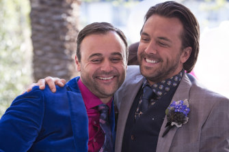 Grantley, left, as gay character Kane in House Husbands.