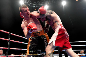 Jeff Horn in his fight with Michael Zerafa in Brisbane last December.