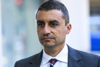 Former rugby league journalist Josh Massoud outside the NSW District Court this week.