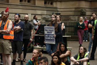 Protest at Sydney Town Hall over NSW drug laws.