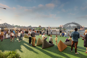 An artist's impression of the Cahill Expressway closed for New Year's revellers.