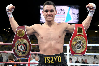 Tim Tszyu celebrates victory in his fight against Jeff Horn.